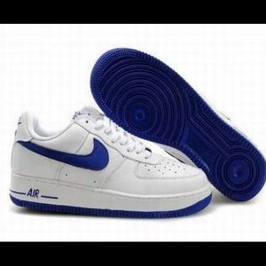 Nike Air Force 1 White & Blue Low Profile Sneakers
